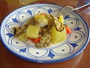 insalata speziata di lenticchie e melanzane