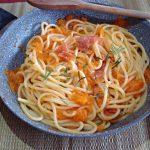 Spaghettoni alla zucca e mortadella croccante
