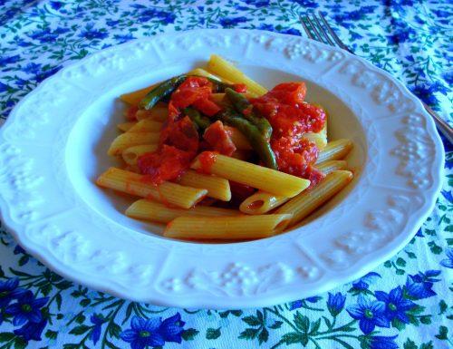 Penne ai friggitelli pomodori e salame