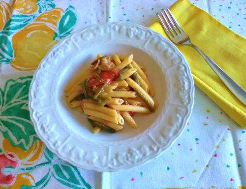 Penne ai fagiolini speck e pomodorini