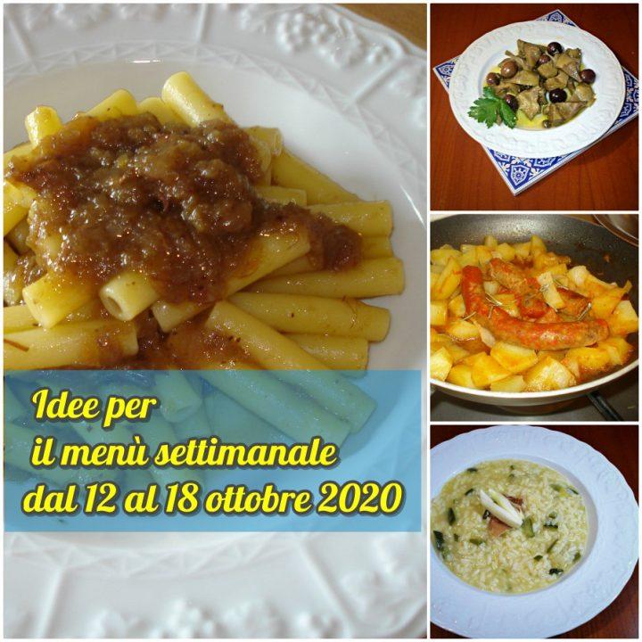 Idee per il menù settimanale dal 12 al 18 ottobre 2020