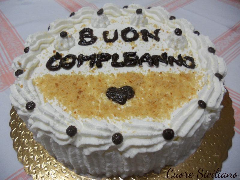 Torta Di Compleanno Con Crema Alla Ricotta E Panna Cuore Siciliano