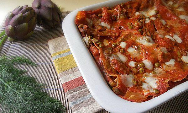 Lasagne al forno con carciofi e finocchietto selvatico