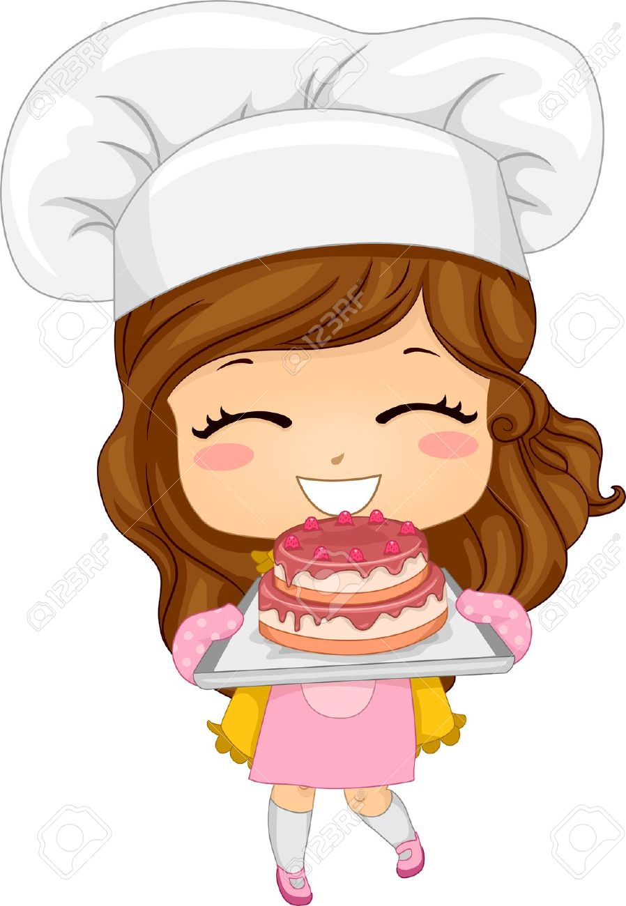 20040500-Illustration-of-Cute-Little-Girl-Baking-a-Cake-Stock-Illustration-chef-cartoon-girl