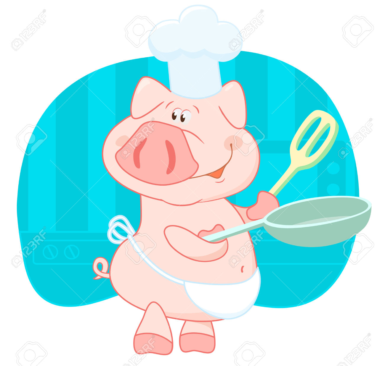 3272587-Pig-cook-in-the-shell-Stock-Vector-pig-cartoon-animals