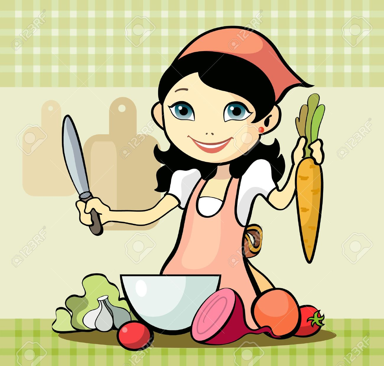 13548347-Vector-illustration-of-a-girl-prepares-a-meal-Stock-Vector-cartoon-chef-cooking