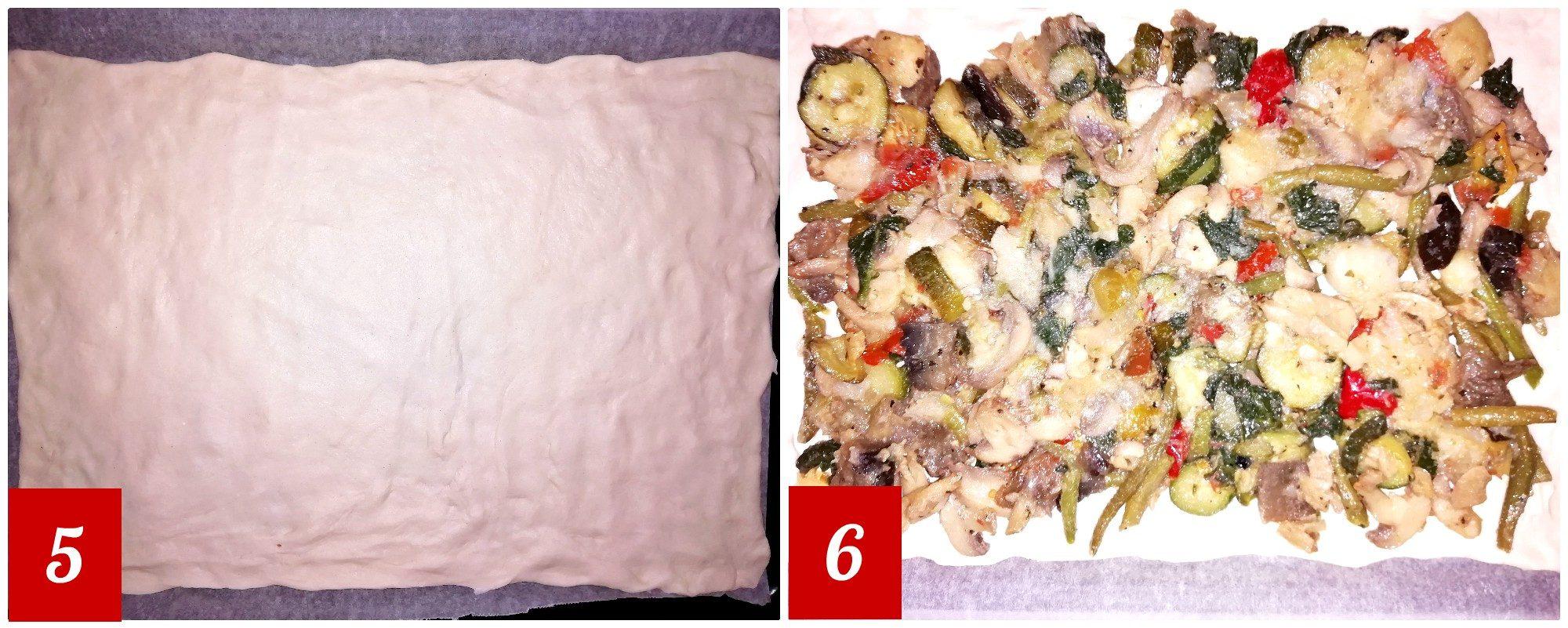 Pizza senza lievito ripiena di verdure