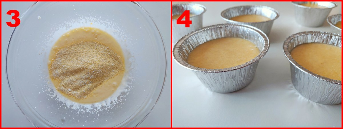 secondo procedimento per i cupcakes di semolino