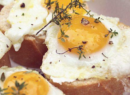 Baguette con uovo di quaglia