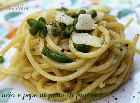 Spaghettoni cacio e pepe con pesto di fagiolini