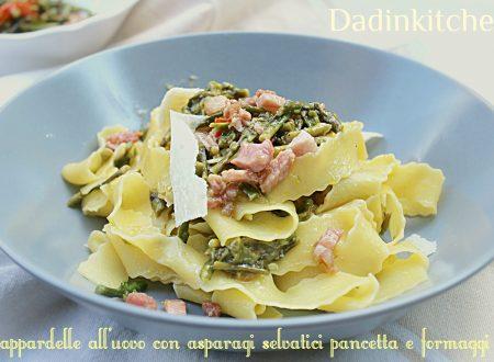 Pappardelle all'uovo con asparagi selvatici pancetta e formaggi