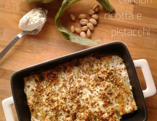 Cannelloni ripieni con carciofi, ricotta e pistacchi