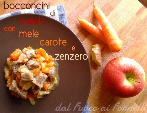 Bocconcini di maiale con mele, carote e zenzero