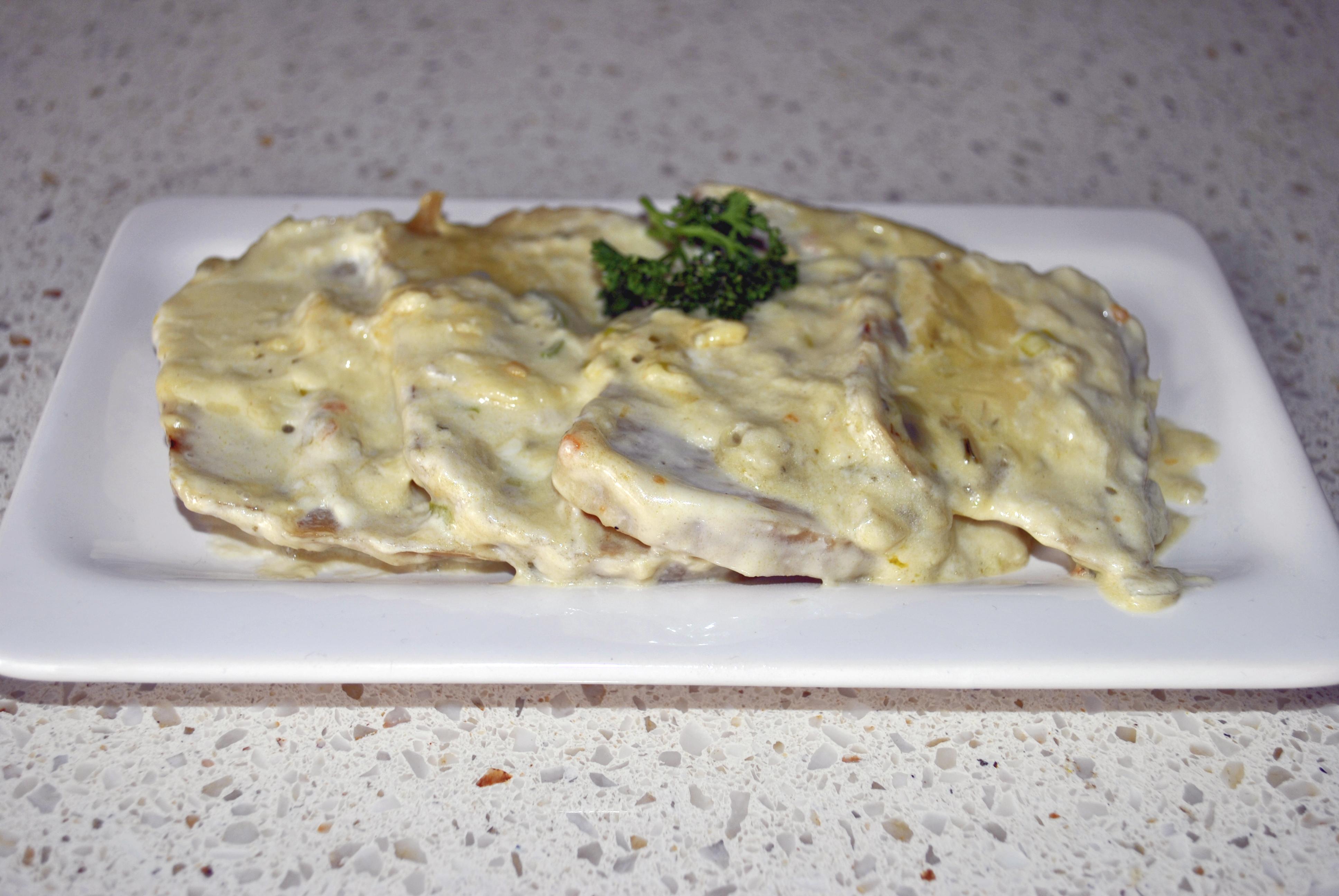 Arrosto di seitan alla panna con patate al forno