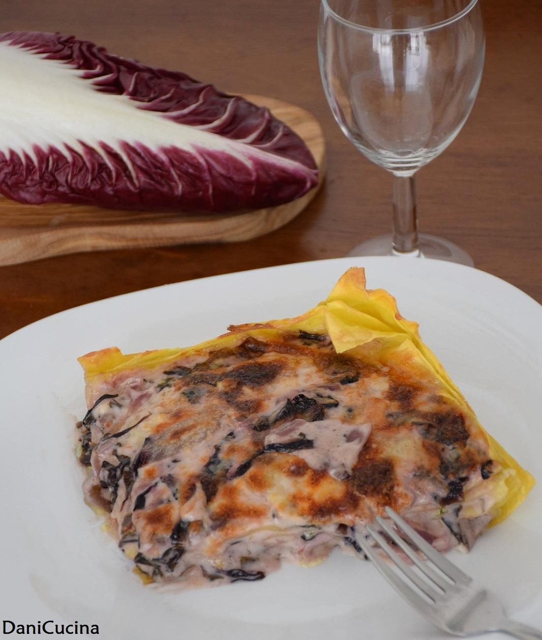 Lasagne al radicchio con speck e stracchino