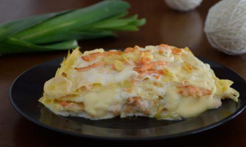 Lasagne ai porri e salmone affumicato