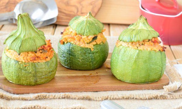 Zucchine tonde ripiene di cous cous e tonno