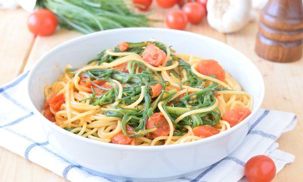 Spaghetti con Agretti e Pomodorini