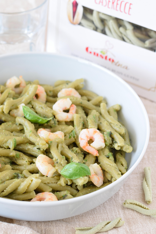 Caserecce al Pistacchio con crema di Zucchine e Gamberetti
