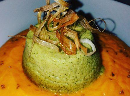 Sformatino di broccoli su crema di carote e porri croccanti