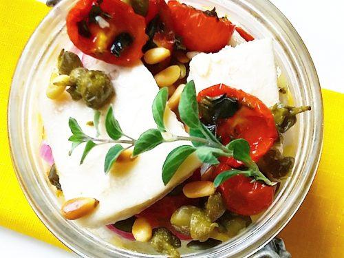 Baccalà con pomodori confit in vasocottura