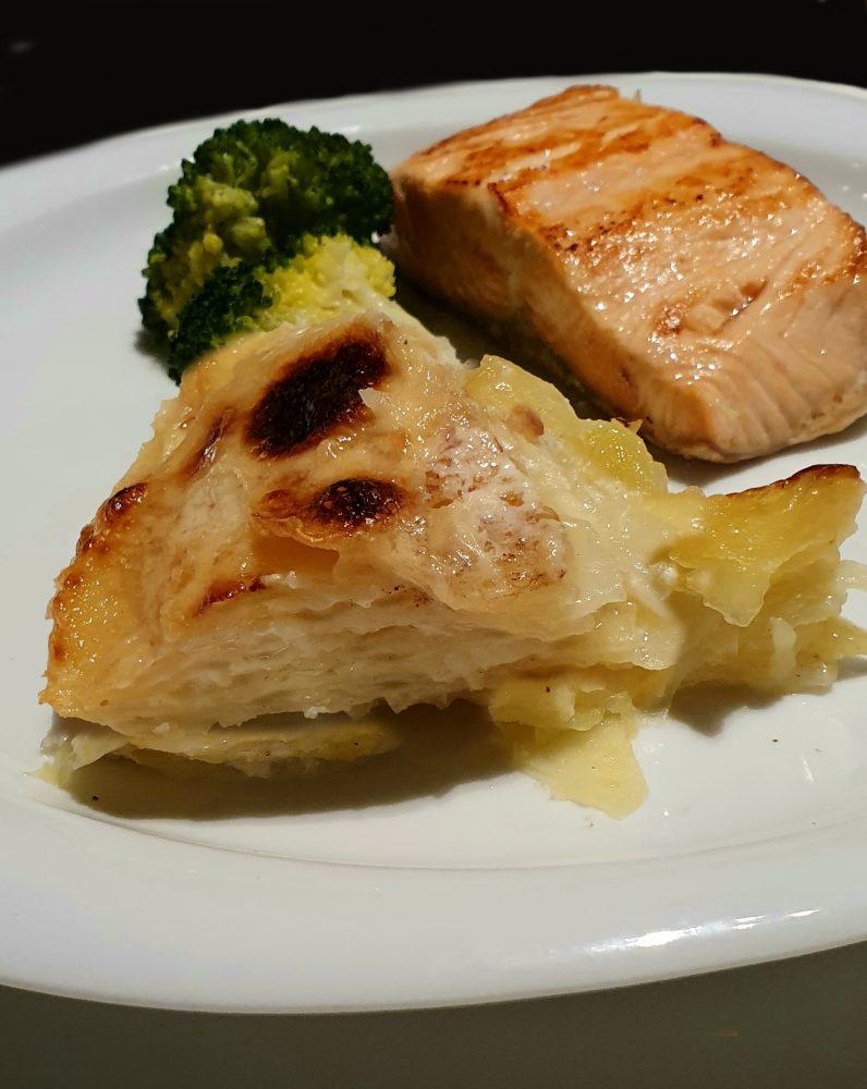 millefoglie di porri e patate porzione