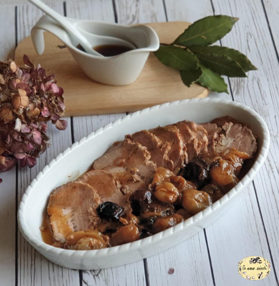 arrosto di maiale con cipolle e prugne