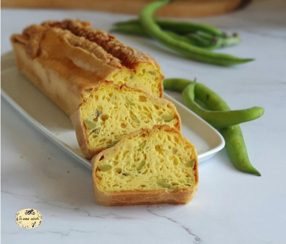 Fiadone plumcake di formaggio e fave affettato