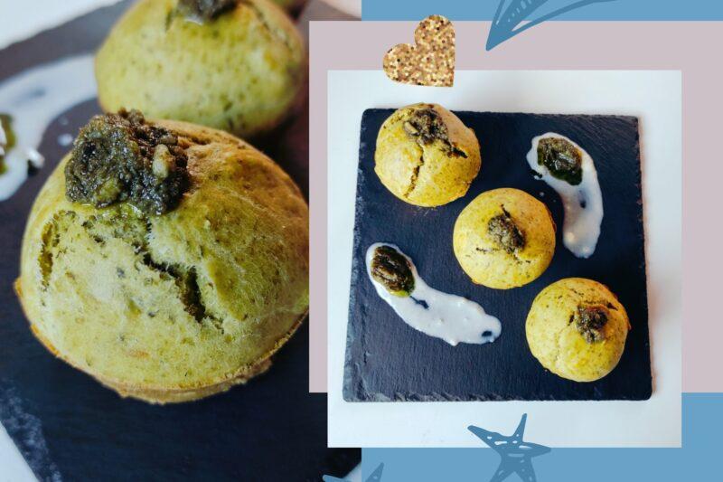 Muffin con patè di cicoria e patate rosse