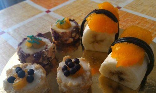 Sushi dessert con frutta e nutella