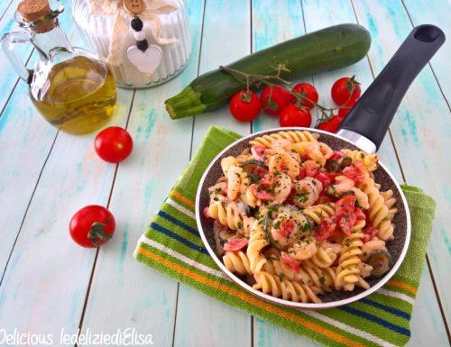 Pasta fredda gamberetti e zucchine cremosa