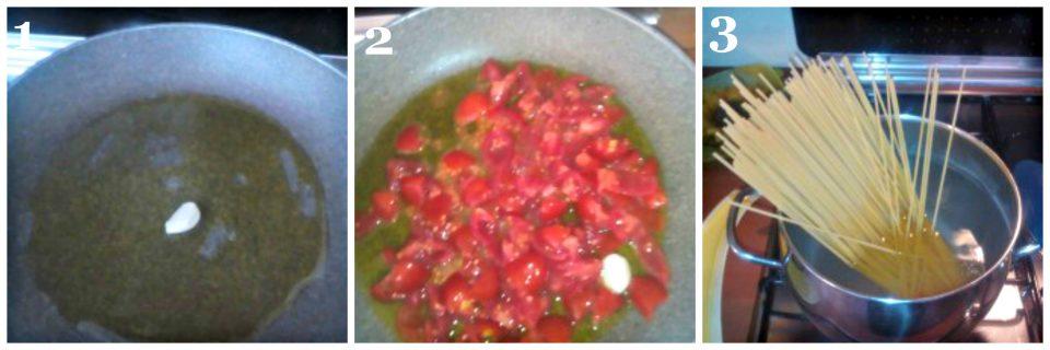 spaghetti con pomodorini e rucola collage 1