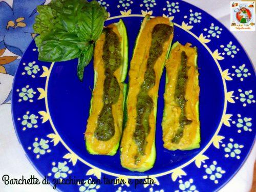 Barchette di zucchine con tonno e pesto