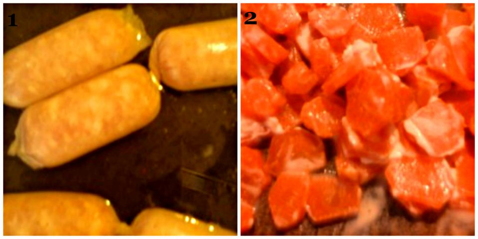 salsicce di coniglio mignon collage
