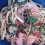 Tagliolini con gamberetti e zucchine grigliate
