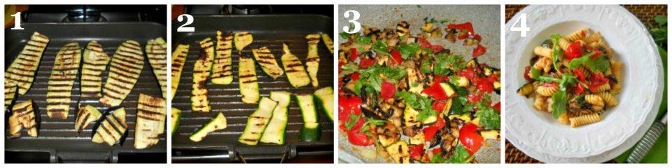 fusilli con rucola e verdure grigliate ricetta leggera collage 1