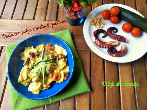 Pasta con polpo e pesto di zucchine