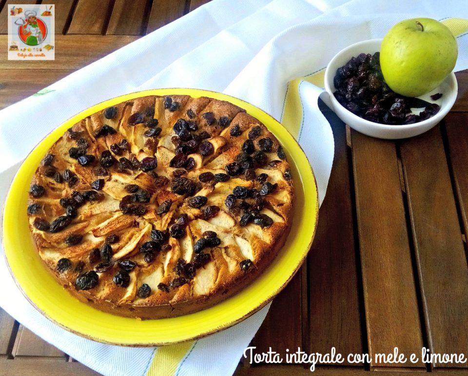 torta integrale con mele e limone