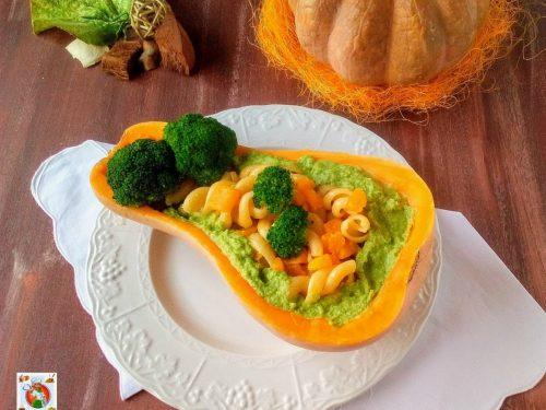 Pasta con crema di broccoli e zucca