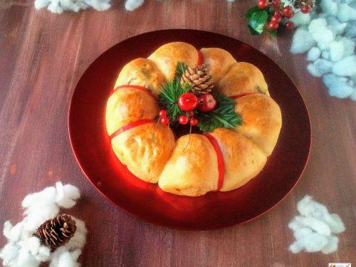 Corona salata di Natale con verdure