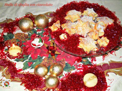 Stelle di sfoglia con cioccolato