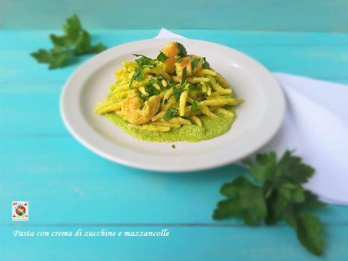 Pasta con mazzancolle e crema di zucchine