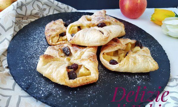 Fagottini di sfoglia con mele e mirtilli – pronti in 10 minuti