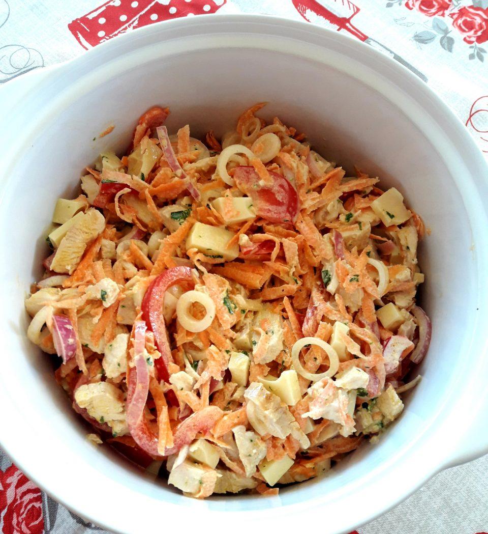 Pollo in insalata con maionese al basilico