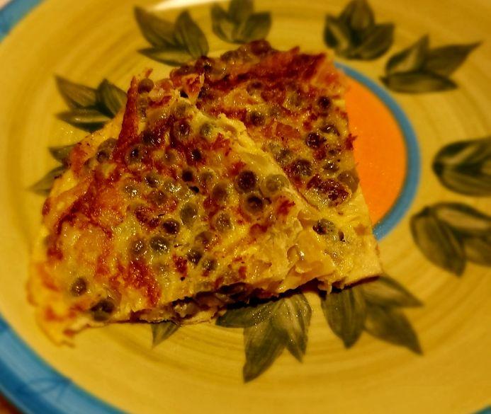 Frittata con piselli e pancetta