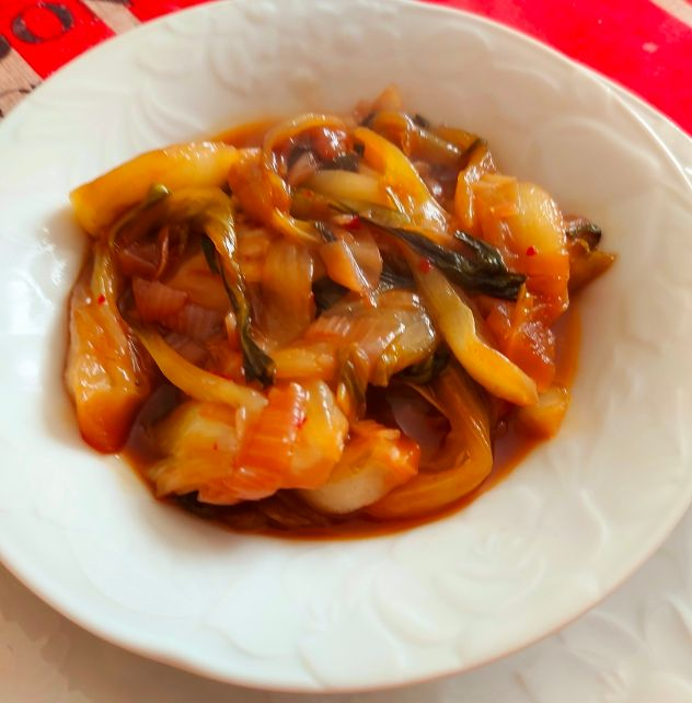 Pak choi con salsa piccante