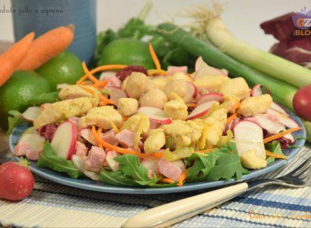 Insalata pollo agrumi, piatto unico
