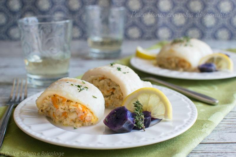 pesce bianco con polpa di granchio