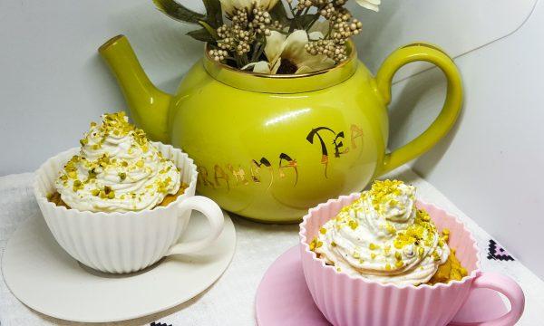 Cupcake alla ricotta, banana e crema al pistacchio