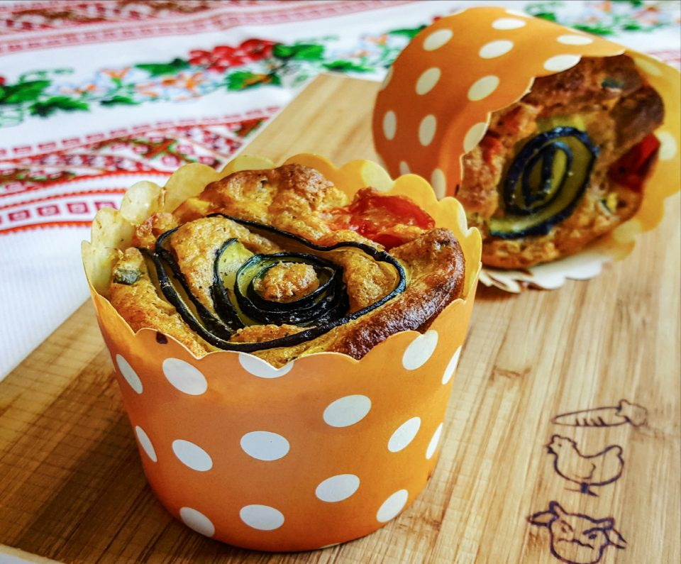 Muffin integrali zucchine e feta
